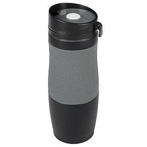 Černý nerezový termohrnek 380ml, s šedým rukávem