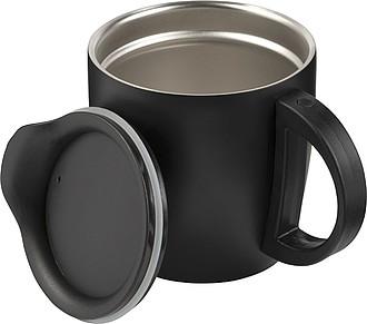 TRIMO Dvoustěnný nerezový hrnek s víčekm, objem 350ml, černá