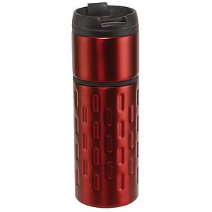 CONNIE Termohrnek 400ml, uvnitř plast, vně nerez, červený