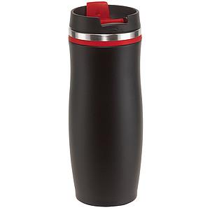 Nerezový termohrnek 400ml s plastovým víčkem, černý s červeným pruhem