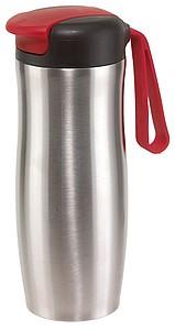 Nerezový termohrnek s poutkem, 400ml, červené detaily
