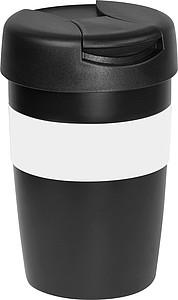 Černý termohrnek, 250ml, s bílým úchopem