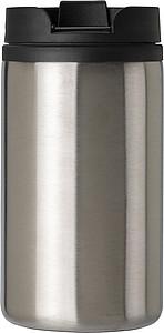 Dvouplášťová termoska z nerezové oceli. Objem 300ml. Stříbrná.