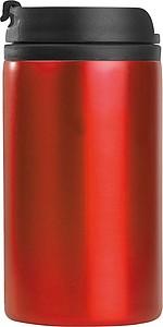 Kovový cestovní hrnek s víčkem, uvnitř plastový, objem 250ml, červený