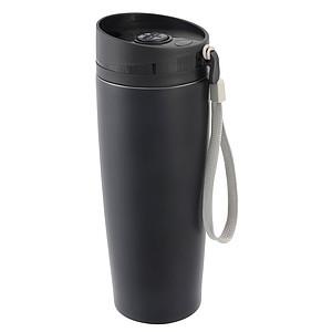 SAGWAN Cestovní hrnek z nerezové oceli s černým víčkem, objem 380 ml, černá