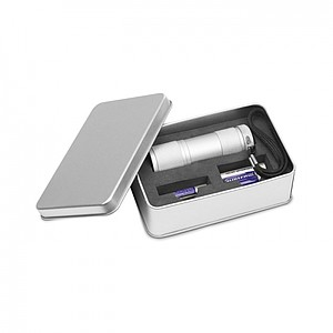 ORIK Hliníková svítilna s 9ti LED diodami, v krabiččce, stříbrná