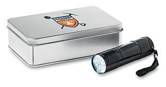 ORIK Hliníková svítilna s 9ti LED diodami, v krabiččce, černá