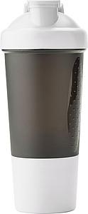 PROTEINO Plastový šejkr na proteinové nápoje, objem 500ml, bílý