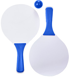 Dřevěná sada dvou pálek a míče, modrá
