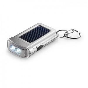 Matně stříbrná svítilna, přívěsek na klíče, solární panel