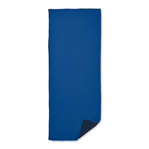 Sportovní ručník, dobře absorbuje vodu. 55% polyamid a 45% mikrovlákno, královská modrá
