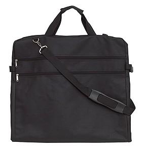 Vak na oblek s kovovým háčkem a kapsou na suchý zip, černý