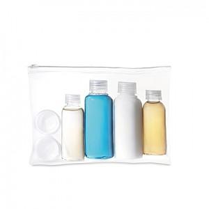 Cestovní taštička obsahuje 6 prázdných lahviček, transparent
