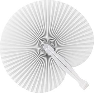 Skládací vějíř s plastovým držadlem, bílý