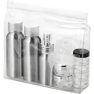 Cestovní sada hliníkových lahviček v transparentním obalu