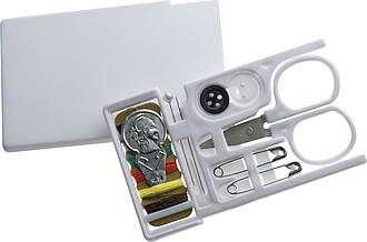Praktické cestovní šitíčko ve velikosti bankovní karty, bílá