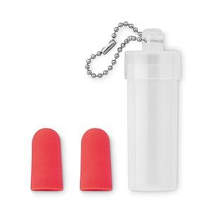 Špunty do uší v plastovém obalu, červené
