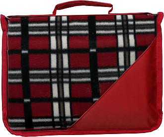 KLARISA Fleecová deka v pouzdře s uchem, 121 x 137 cm, červená