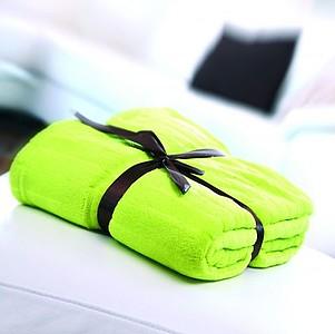 VS PONAPE zelená deka s proužky, coral fleece, 127 x 180 cm
