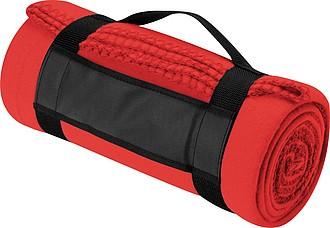 PARVATI Fleece-deka s popruhem, červená