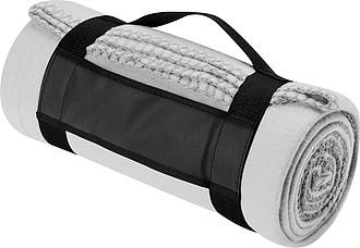 Fleece-deka s popruhem, bílá