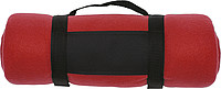 BÁRA Fleecová deka s popruhem přes rameno, červená