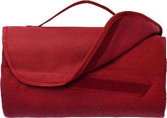 Fleecová deka s nylonovým uchem, 133 x 120 cm, červená