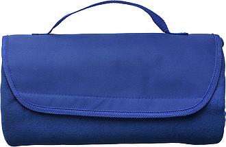 Fleecová deka s nylonovým uchem, 133 x 120 cm, modrá