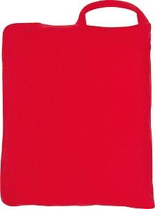 Fleecová deka 150x120cm, složitelná do polštáře, červená