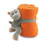 HROŠÍK Dětská fleecová deka s plyšovým hrochem, oranžová
