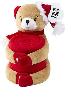 Červená deka s plyšovým medvědem