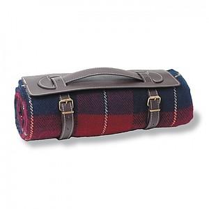 FRAZADA Kostkovaná cestovní deka s držadlem, červená, modrá
