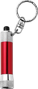 DIAMON Přívěšek na klíče, LED baterka, stříbrno červená
