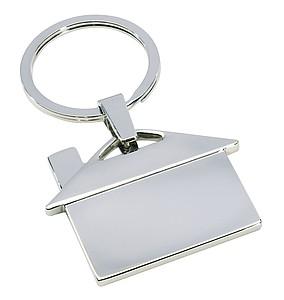 Kovový přívěsek na klíče-dům, stříbrná
