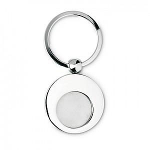 Klíčenka s kovovým žetonem o velikosti Euro mince, stříbrná