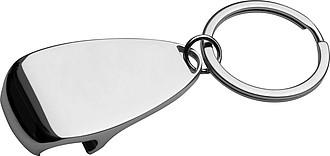 Kovový přívěšek na klíče s otvírákem na láhve, stříbrná
