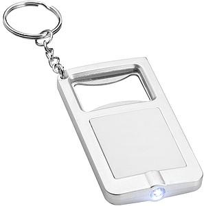 Přívěsek na klíče se světlem a otvírákem, bílá