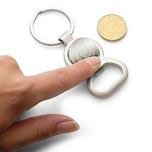 EMET Přívěsek na klíče otvírák s držákem žetonu ve velikosti 1€
