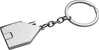 Kovový přívěšek na klíče ve tvaru domečku