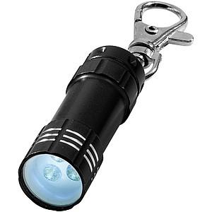 Kovová klíčenka se 3 bílými LED světly, černá