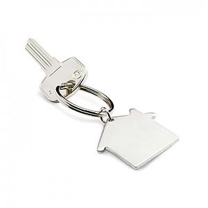 Kovový přívěšek na klíče, tvar domu, stříbrná