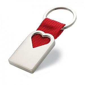 Kovový přívěšek na klíče s výřezem ve tvaru srdce, červená