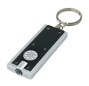 Obdélný přívěsek na klíče se světlem, černá stříbrná