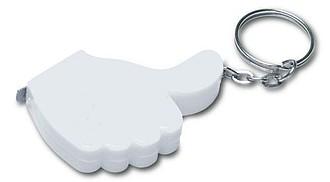 OK Přívěšek na klíče-svinovací metr, 1m, bílá