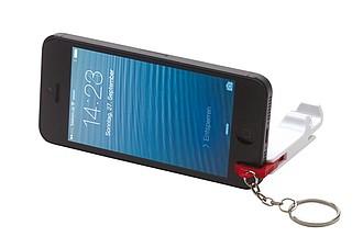 Přívěšek na klíče s otvírákem a stojánkem na mobil, červený