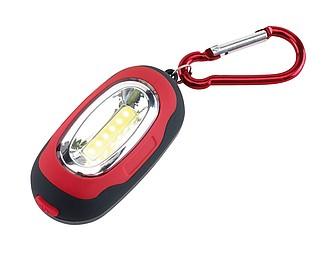 Přívěšek s karabinou a světlem 6 LED, červený