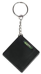 FRATEL Přívěšek na klíče se svinovacím metrem, vodováhou a mini KP, černá
