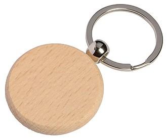 Dřevěný kulatý přívěsek na klíče, stříbrná/středně hnědá