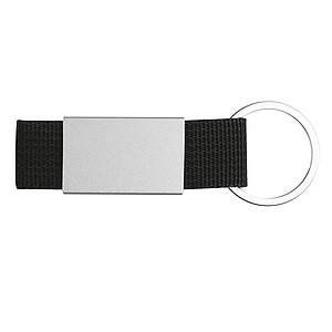 Přívěšek na klíče kombinující barevný textil a nerezový plíšek, černý