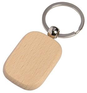Dřevěný obdélník přívěsek na klíče, stříbrná/středně hnědá